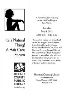 Free Natural Hair Discussion Panel Tonight!